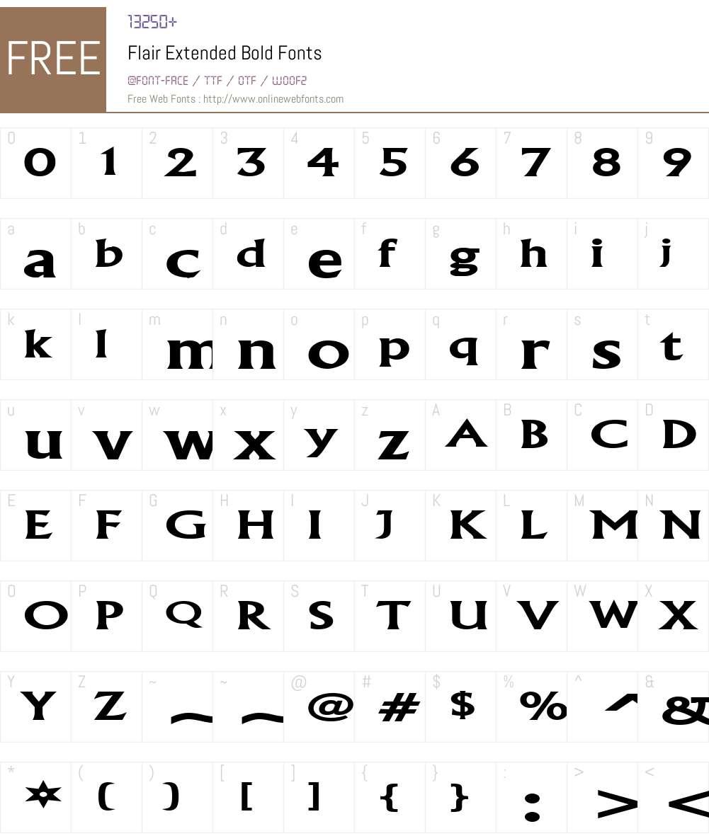 Flair Extended Font Screenshots