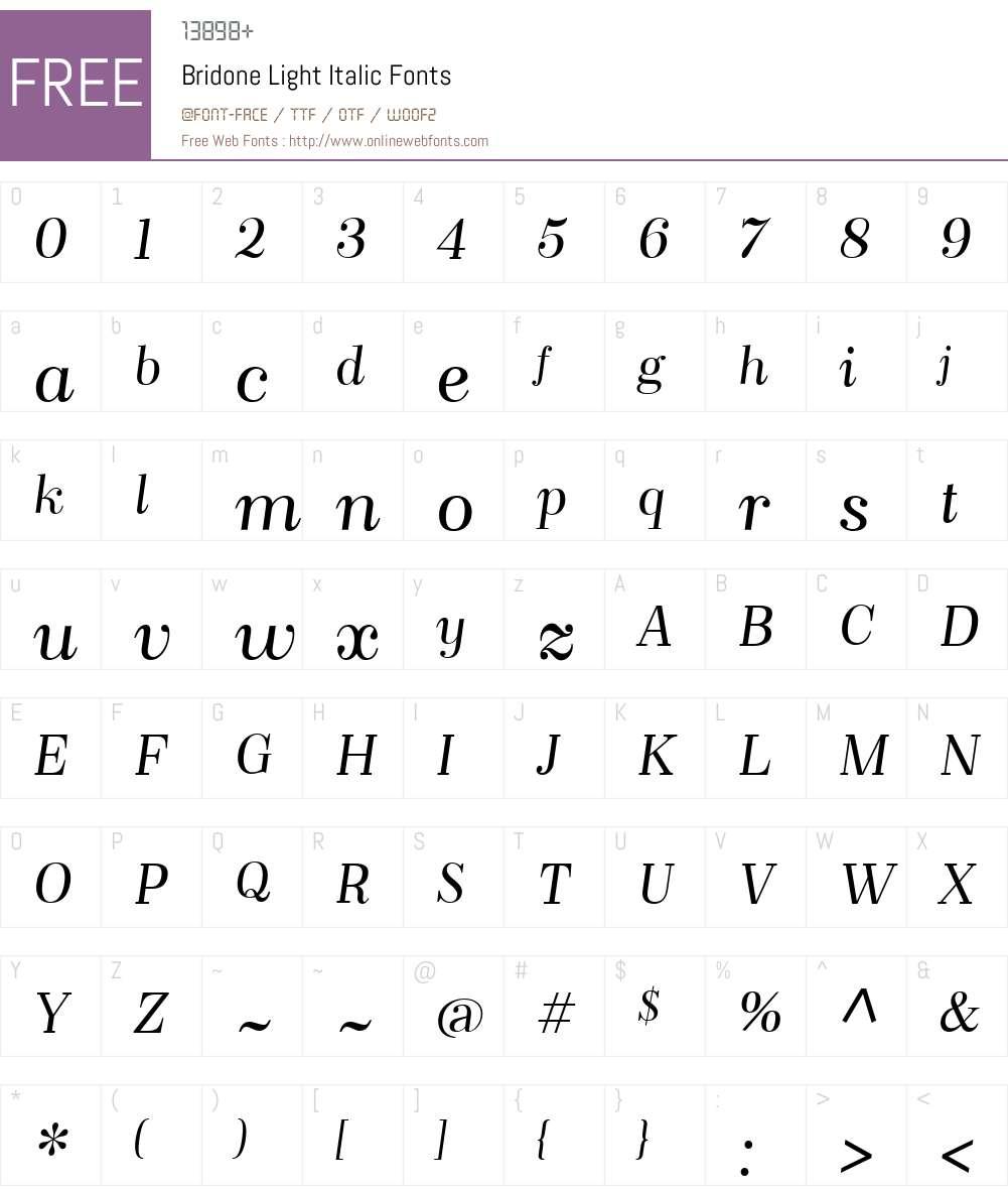 BridoneLight-Italic Font Screenshots
