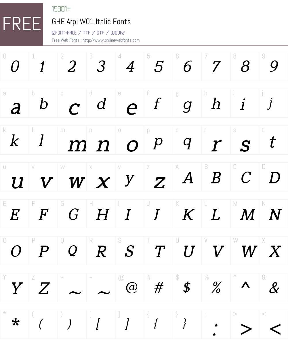 GHEArpiW01-Italic Font Screenshots