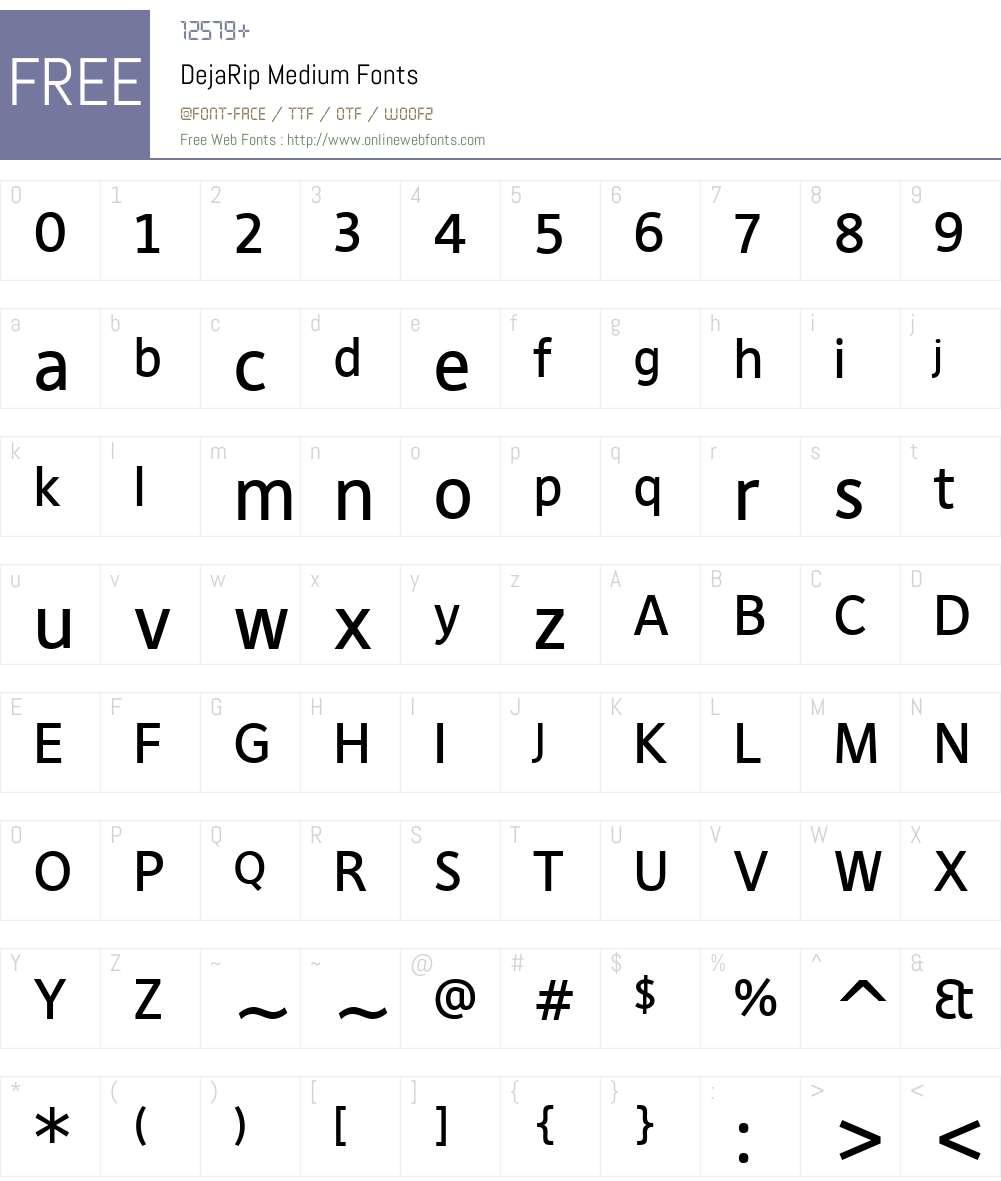 DejaRip Medium Font Screenshots