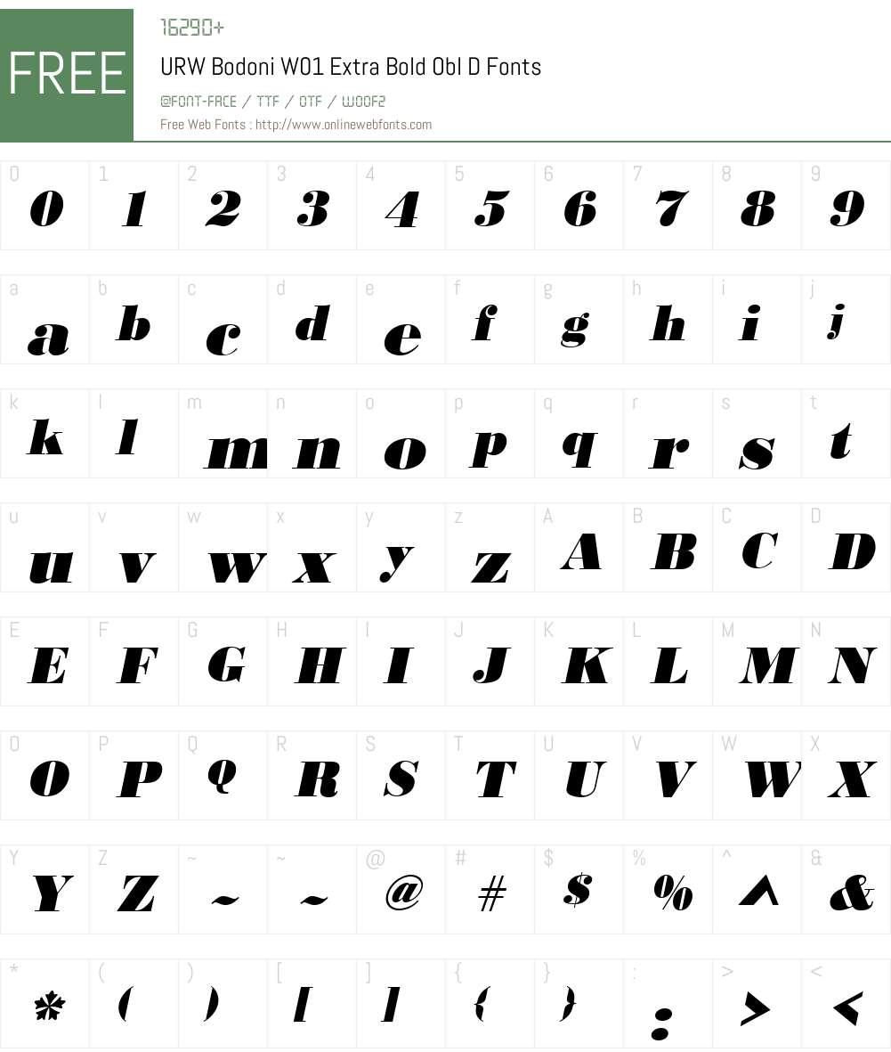 URWBodoniW01-ExtraBoldOblD Font Screenshots