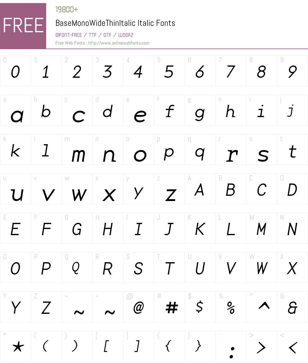 BaseMonoWideThinItalic Font Screenshots
