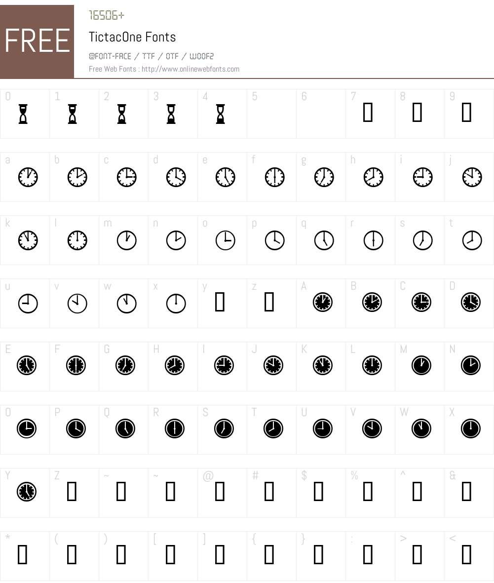 TictacOne Font Screenshots