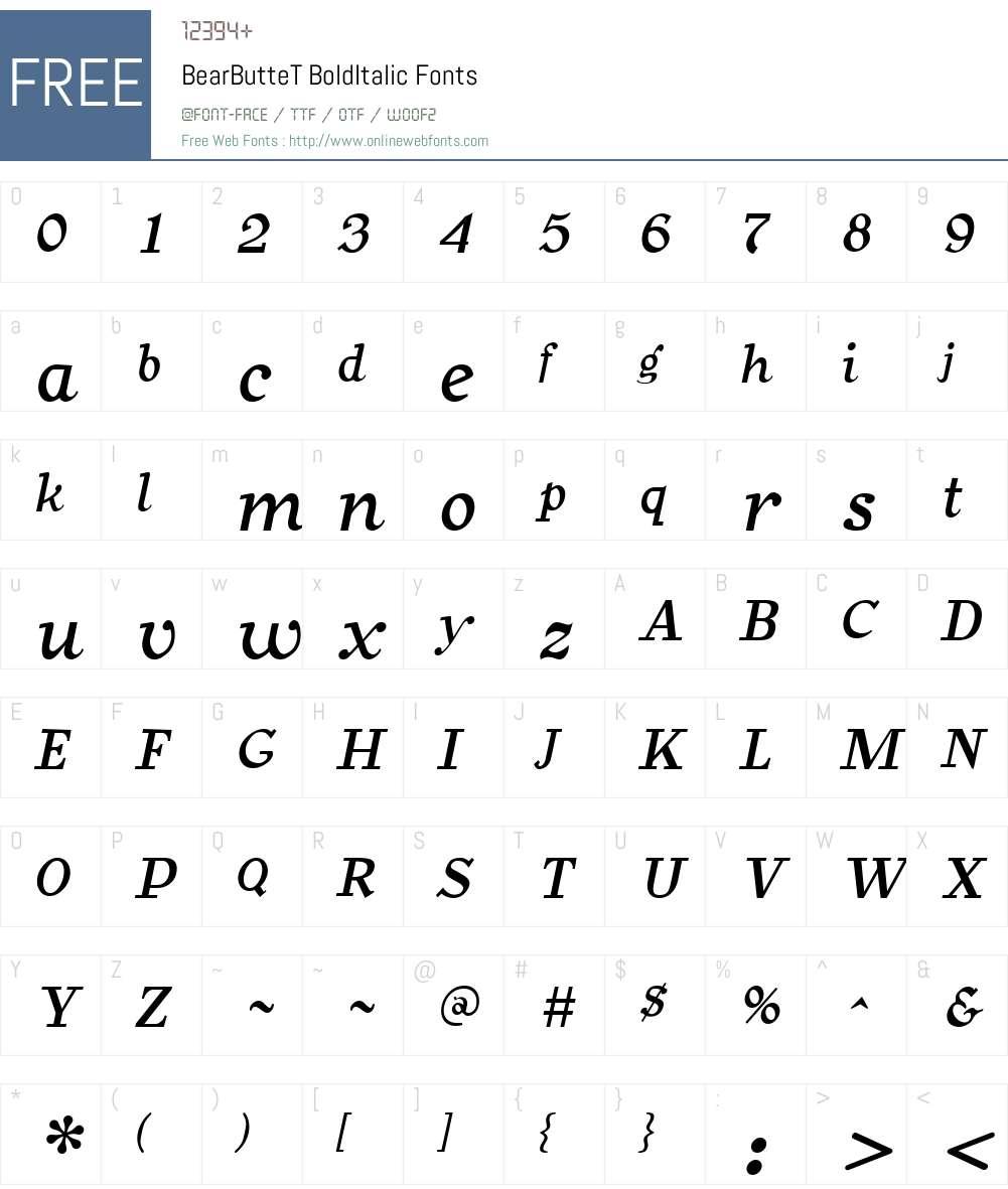 BearButteT Font Screenshots