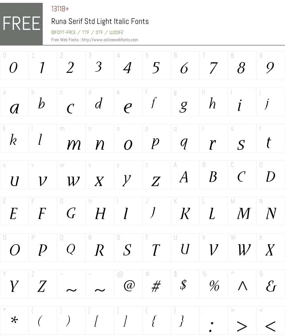Runa Serif Std Font Screenshots