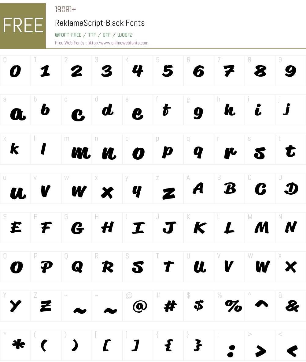 ReklameScript-Black Font Screenshots
