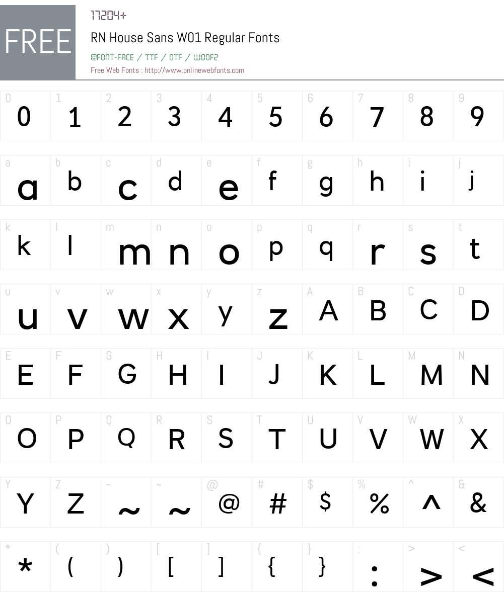 RNHouseSansW01-Regular Font Screenshots