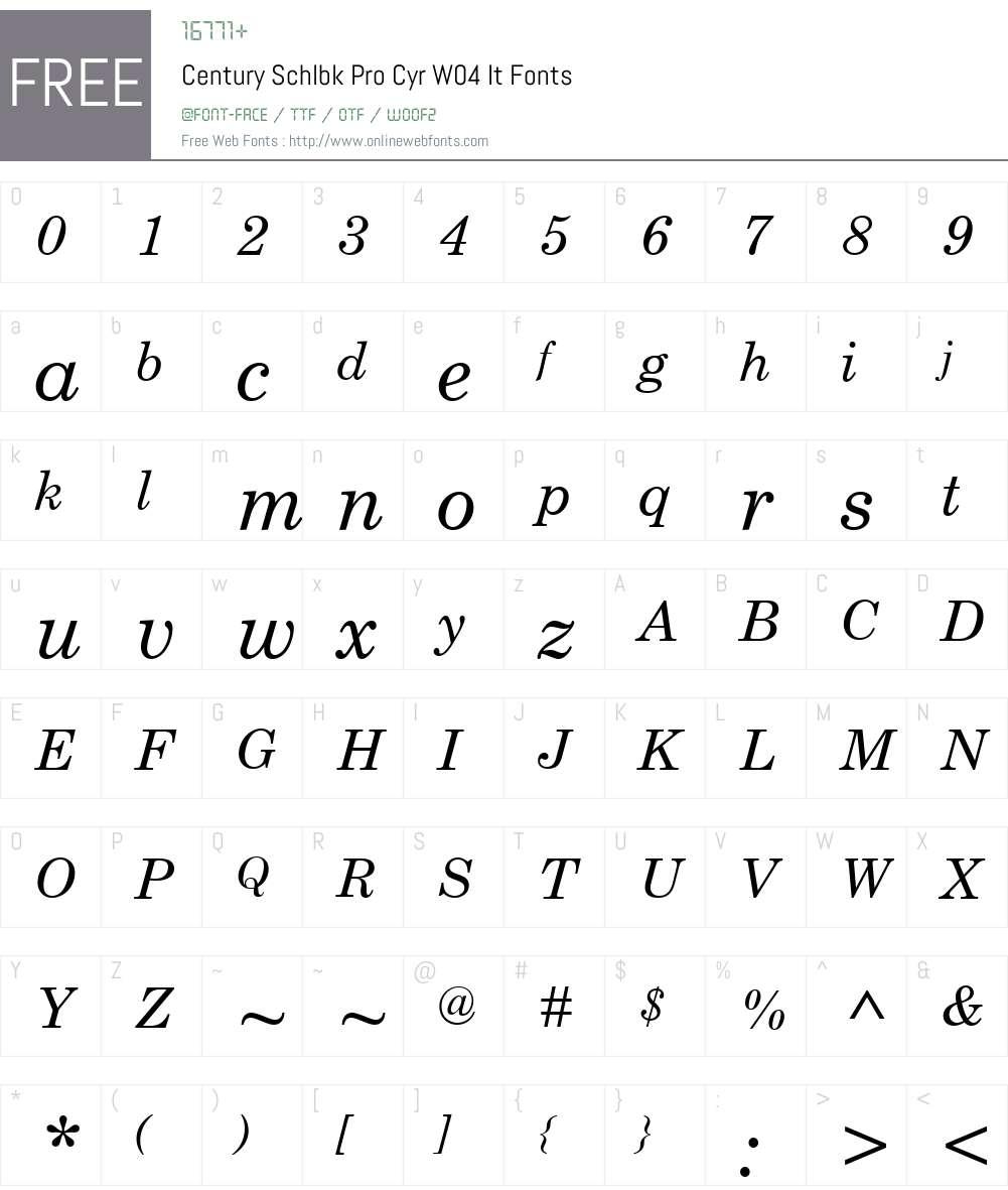 CenturySchlbkProCyrW04-It Font Screenshots