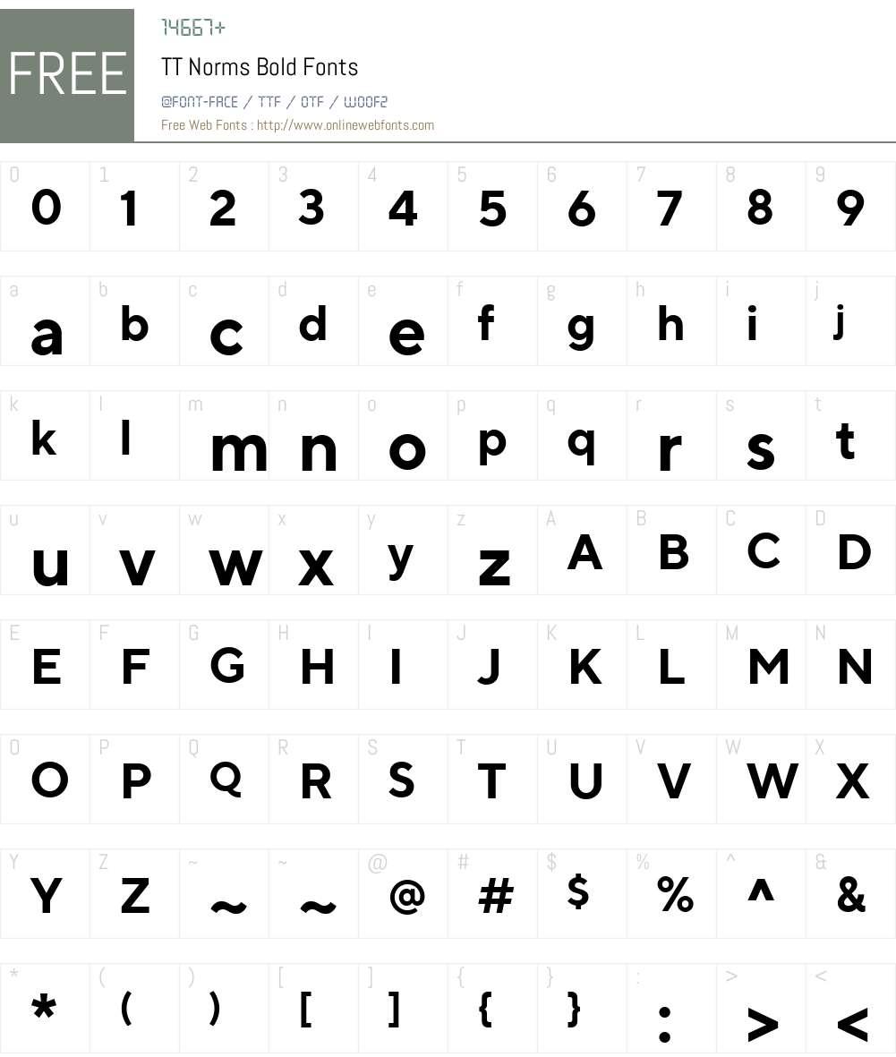 TTNorms-Bold Font Screenshots