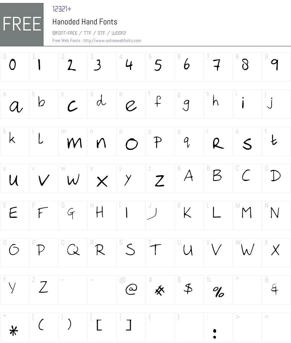 Hanoded Hand Font Screenshots