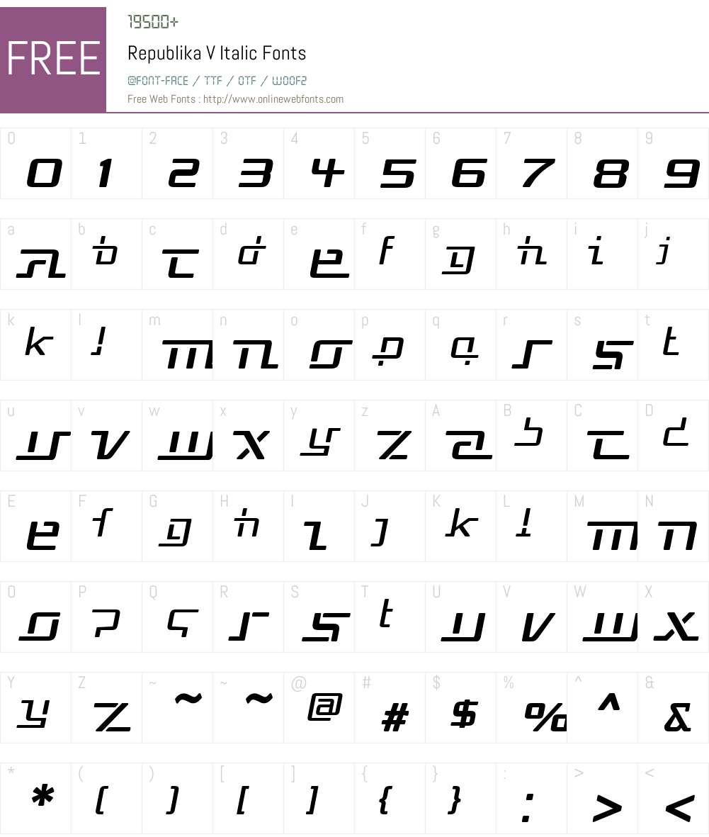 Republika V Font Screenshots