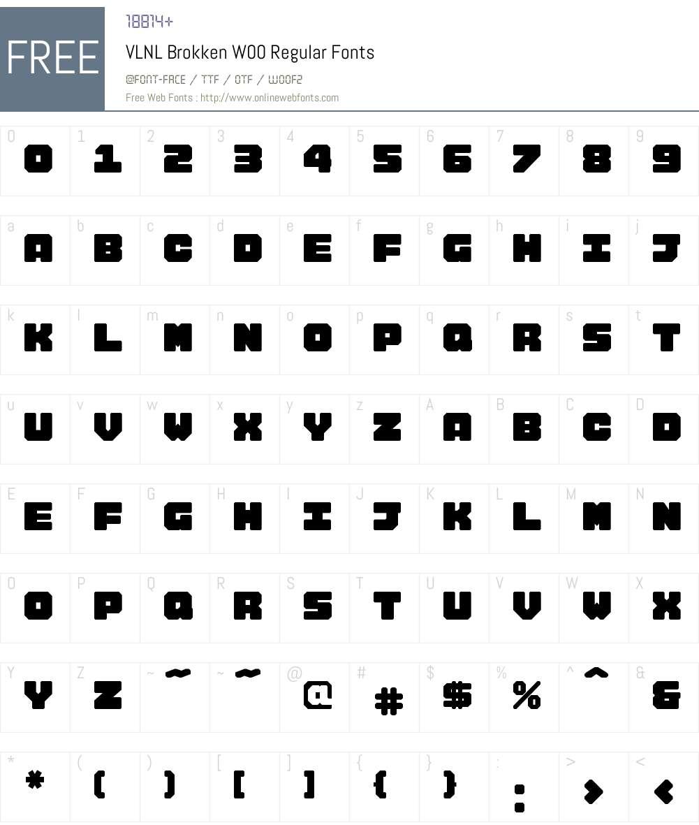 VLNL Brokken Font Screenshots