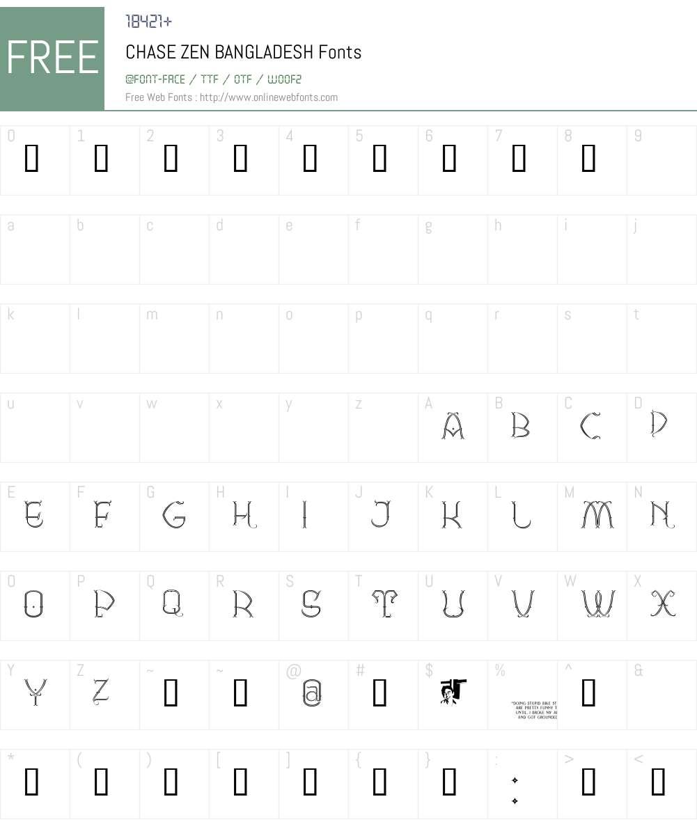 CHASE ZEN BANGLADESH Font Screenshots