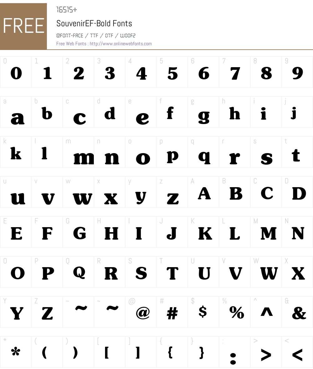 SouvenirEF-Bold Font Screenshots
