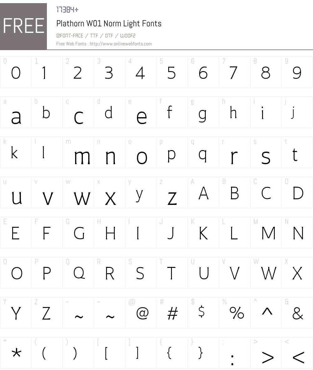 PlathornW01-NormLight Font Screenshots