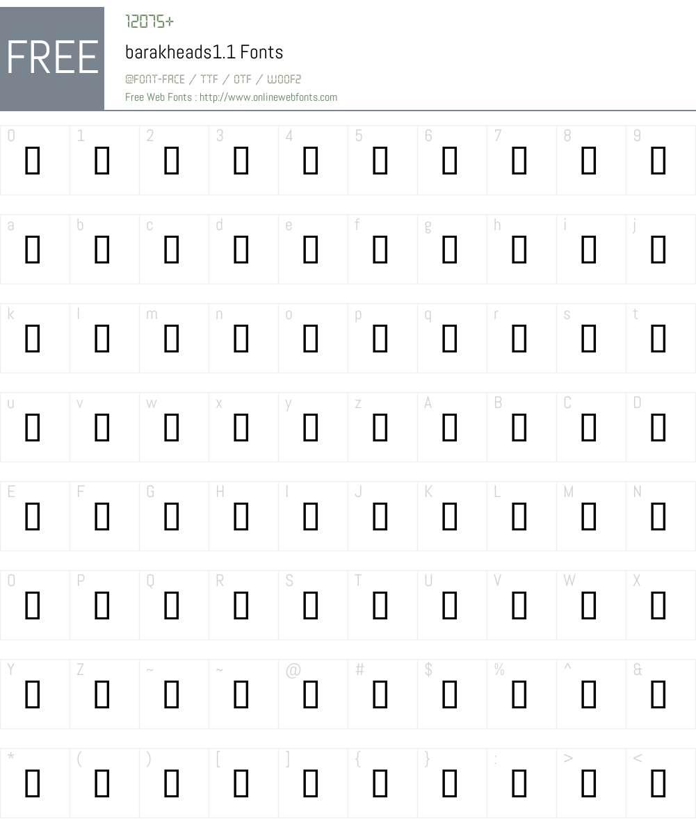 barakheads1.1 Font Screenshots