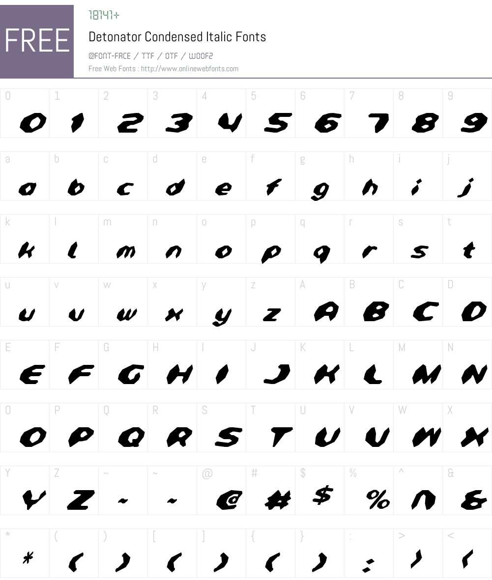 Detonator Condensed Italic Font Screenshots