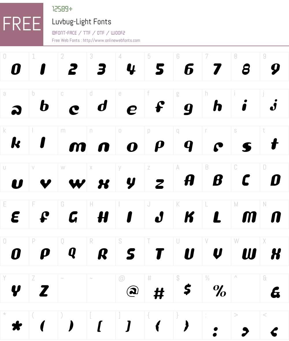 Luvbug Font Screenshots