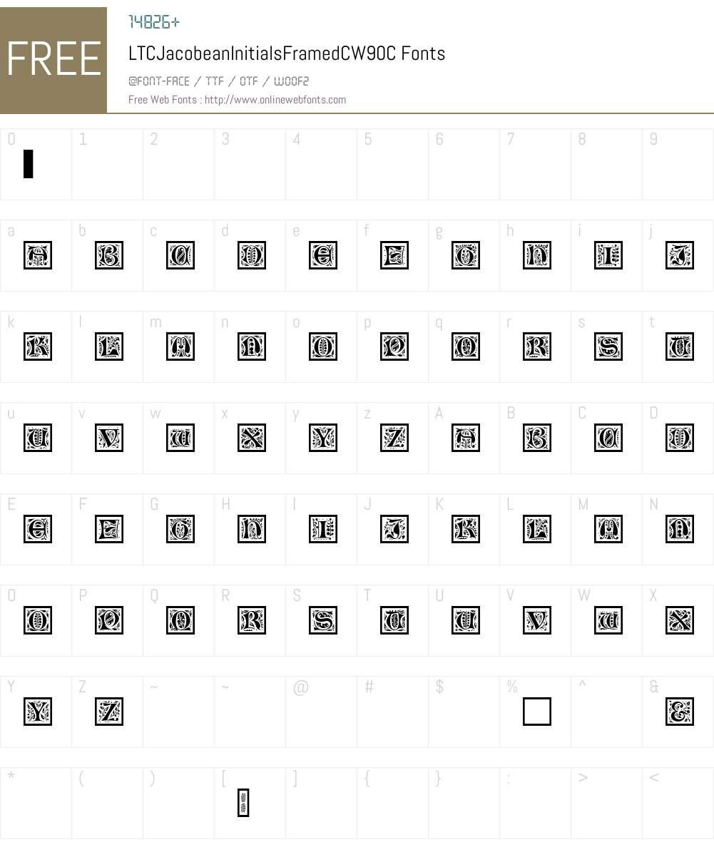 LTCJacobeanInitialsFramedCW90-C Font Screenshots