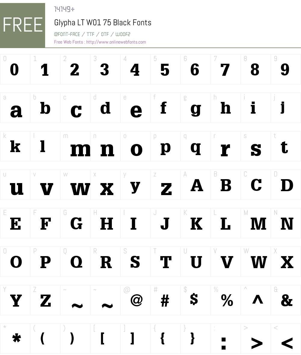 GlyphaLTW01-75Black Font Screenshots