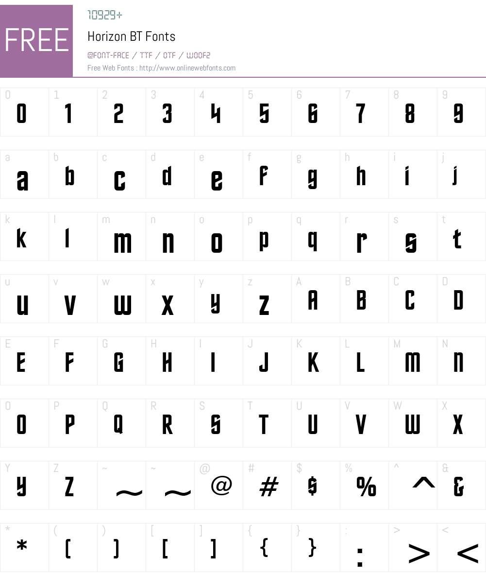 Horizon BT Font Screenshots