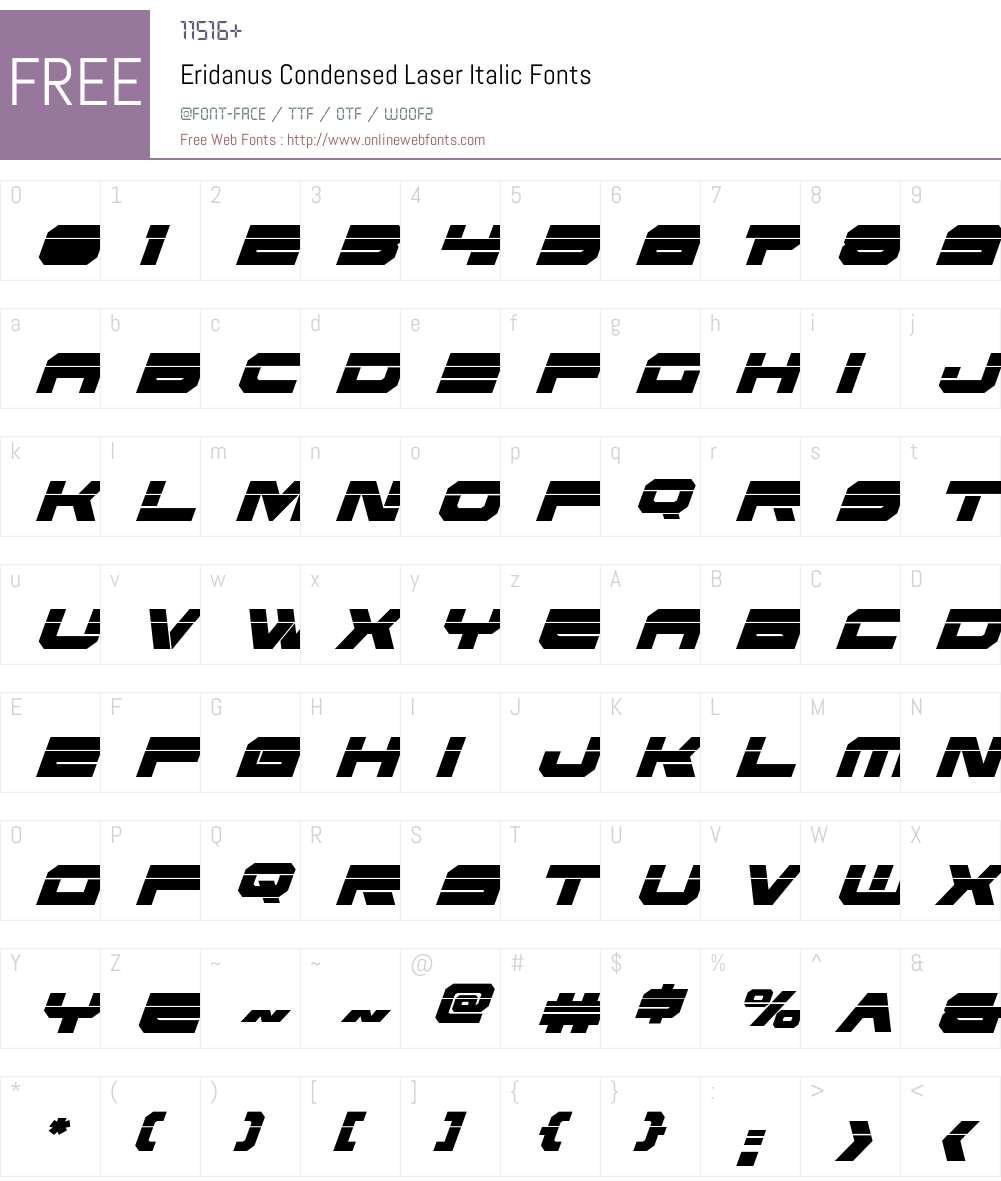 Eridanus Condensed Laser Italic Font Screenshots