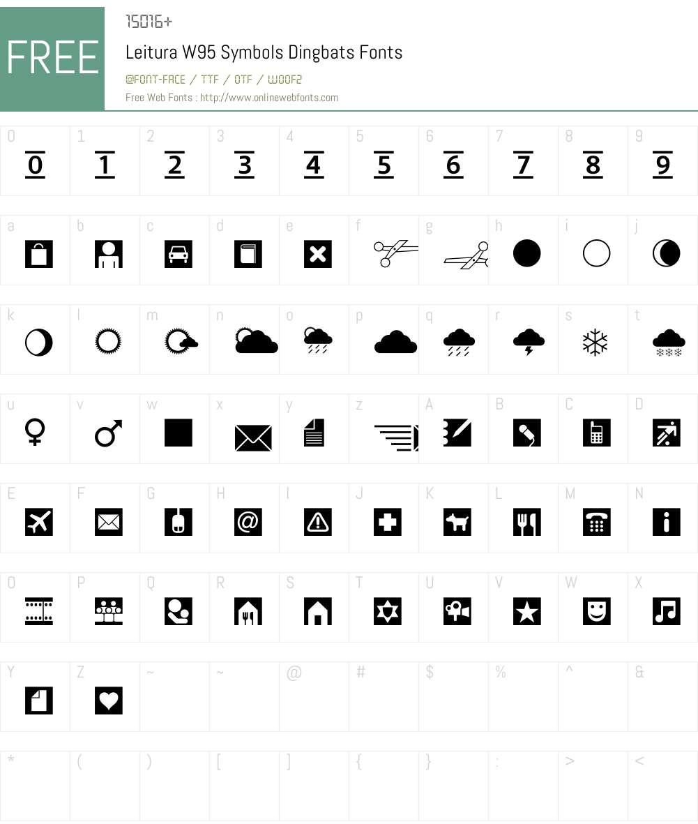 LeituraW95-SymbolsDingbats Font Screenshots