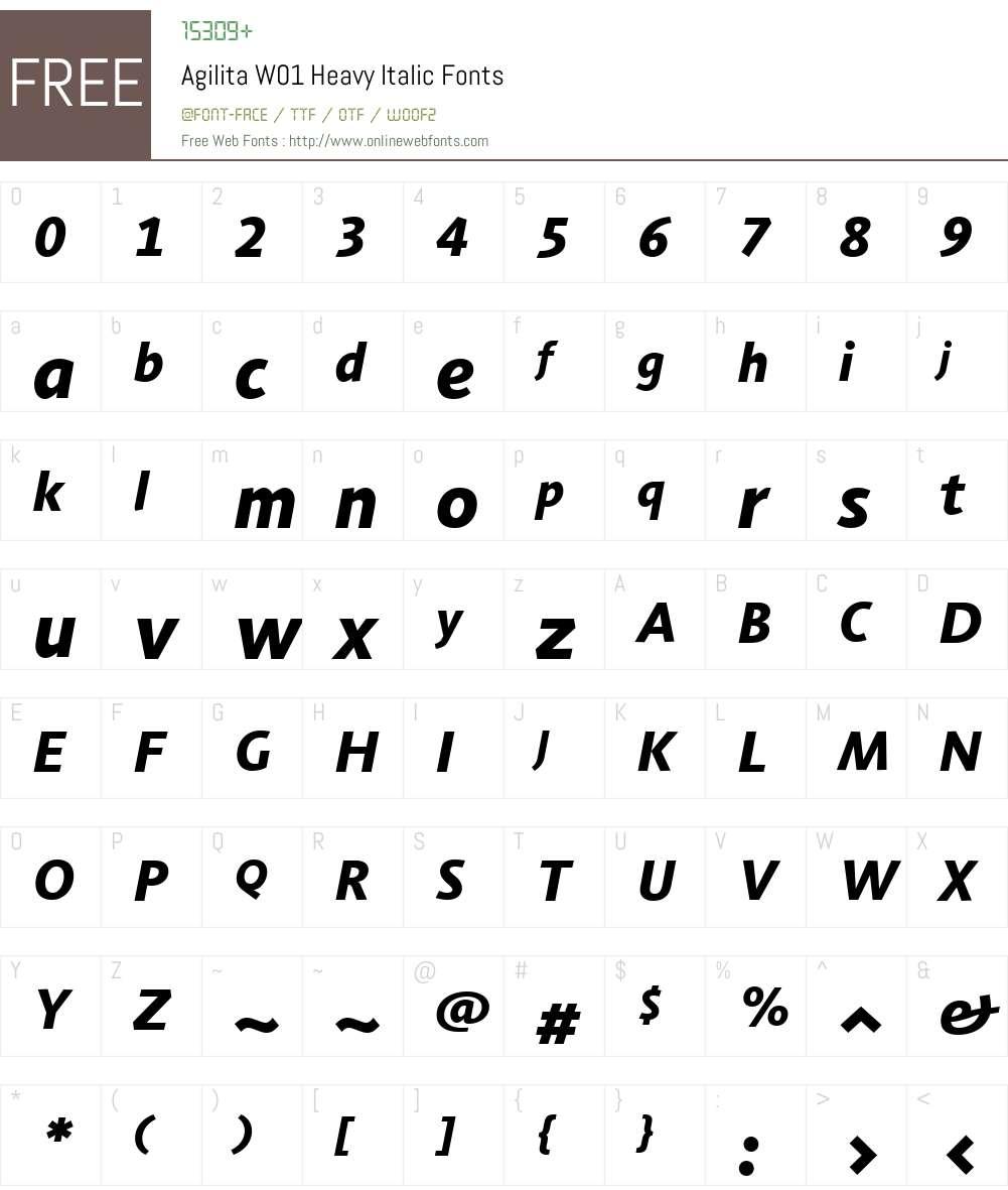 AgilitaW01-HeavyItalic Font Screenshots