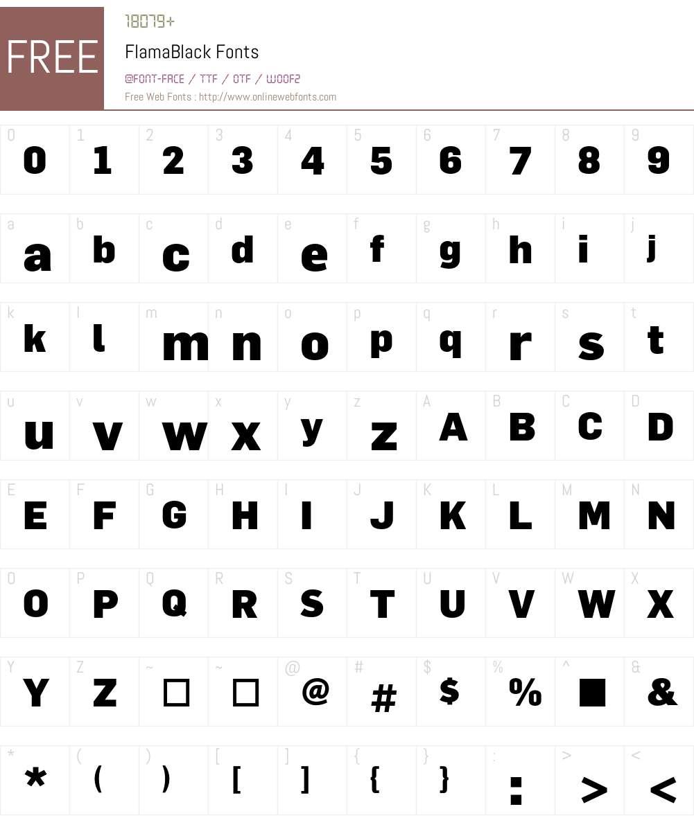 FlamaBlack Font Screenshots