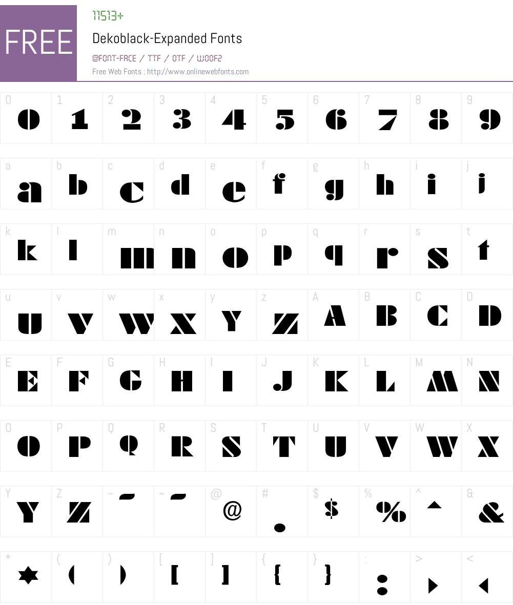 Dekoblack-Expanded Font Screenshots