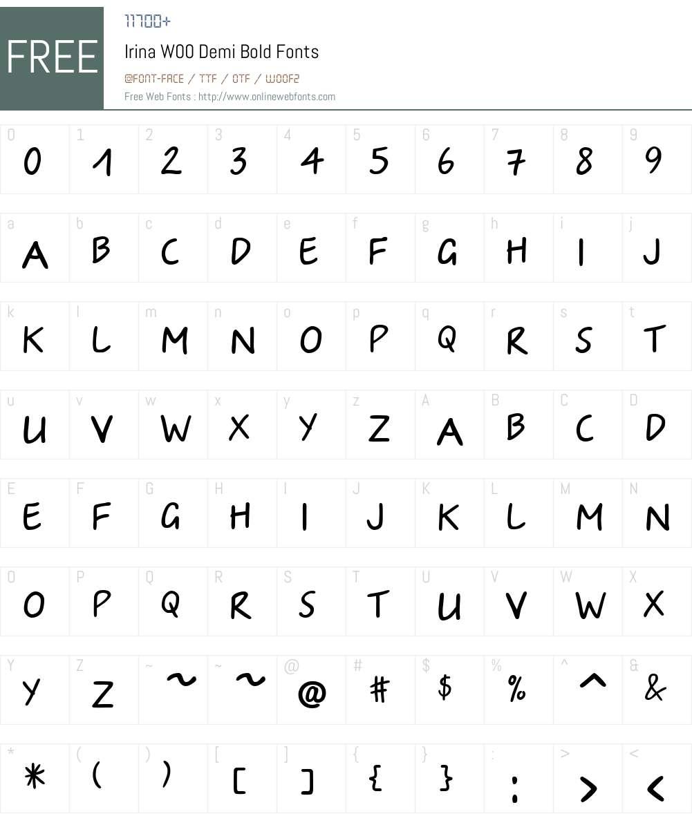 IrinaW00-DemiBold Font Screenshots