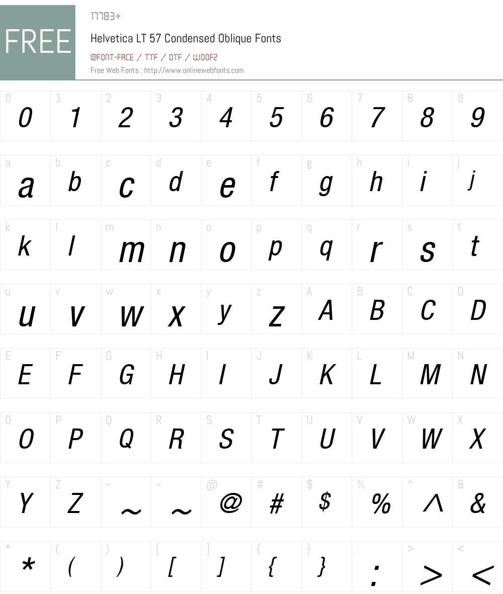 HelveticaNeue LT 57 Cn Font Screenshots