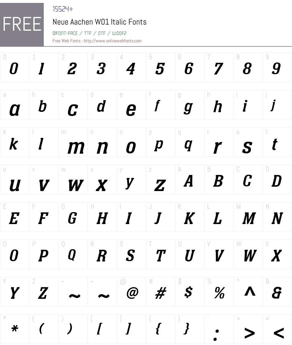 NeueAachenW01-Italic Font Screenshots