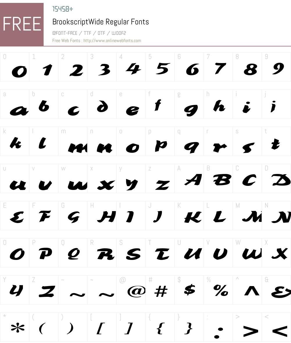 BrookscriptWide Font Screenshots