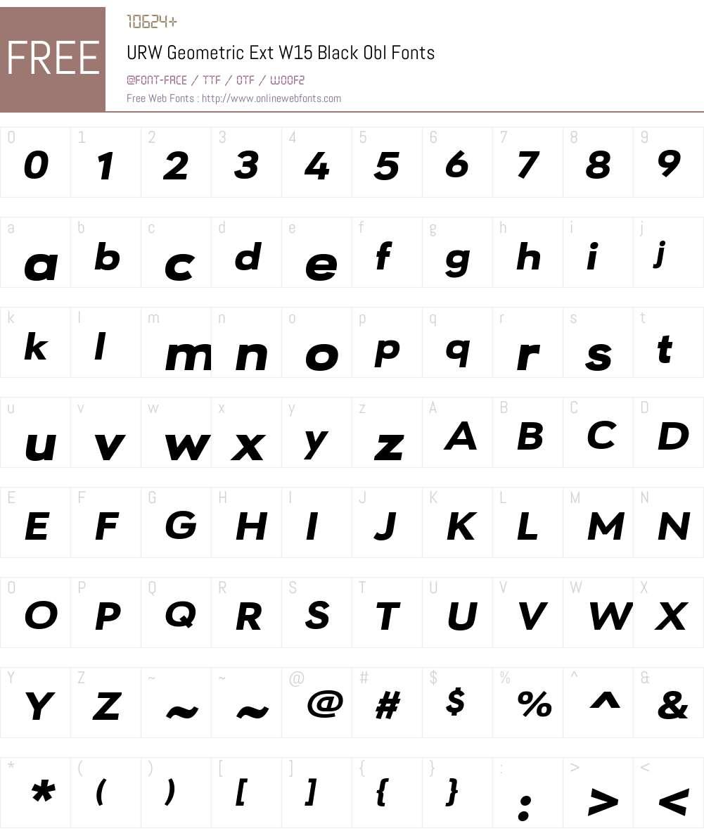 URWGeometricExtW15-BlackObl Font Screenshots