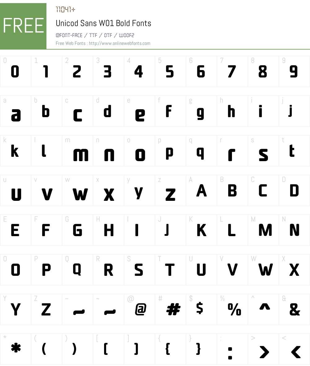 UnicodSansW01-Bold Font Screenshots