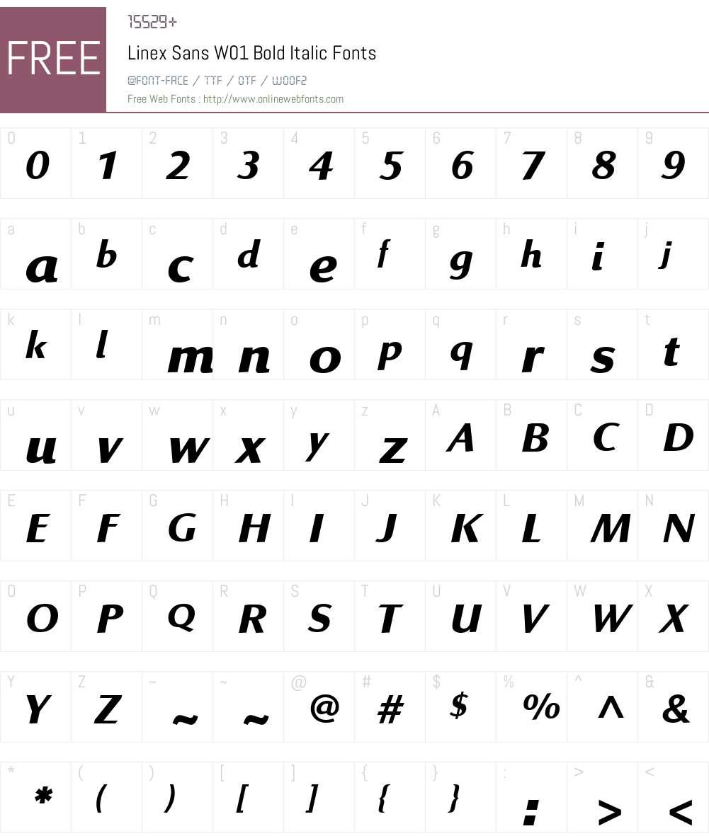 LinexSansW01-BoldItalic Font Screenshots