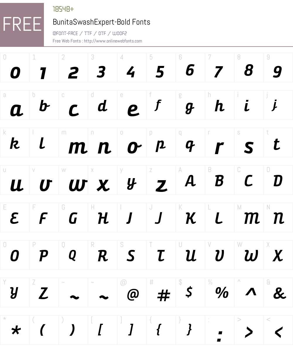 Bunita Swash Expert Bold Font Screenshots