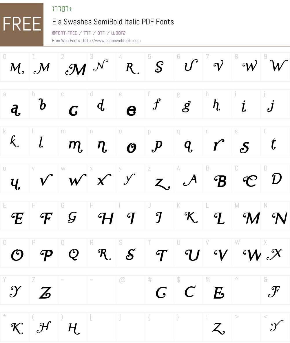 Ela Swashes SemiBold Font Screenshots