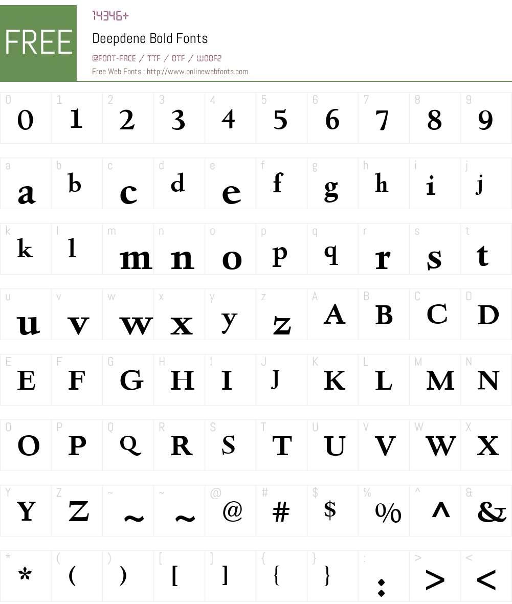 Deepdene BQ Font Screenshots