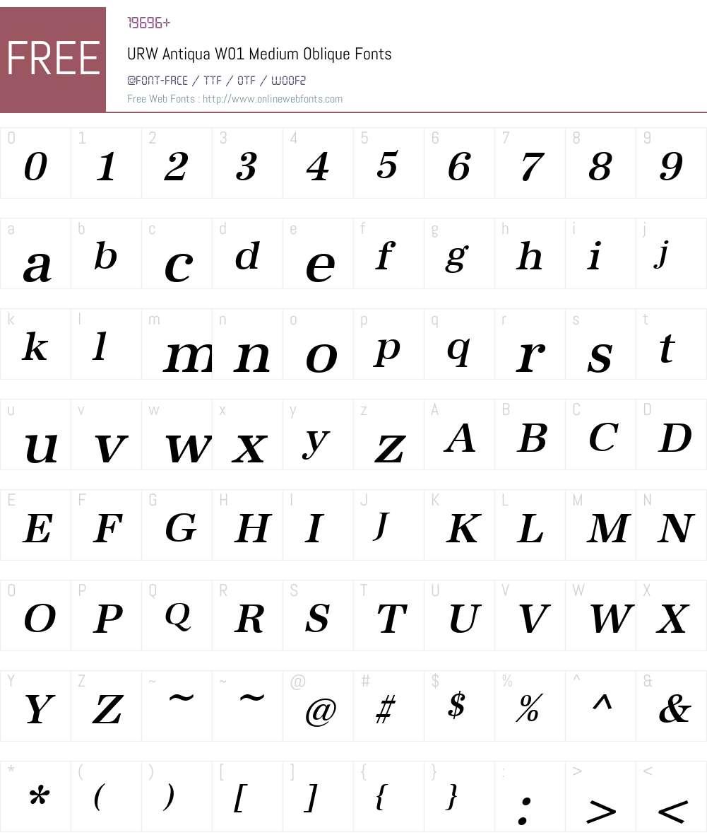 URWAntiquaW01-MediumOblique Font Screenshots