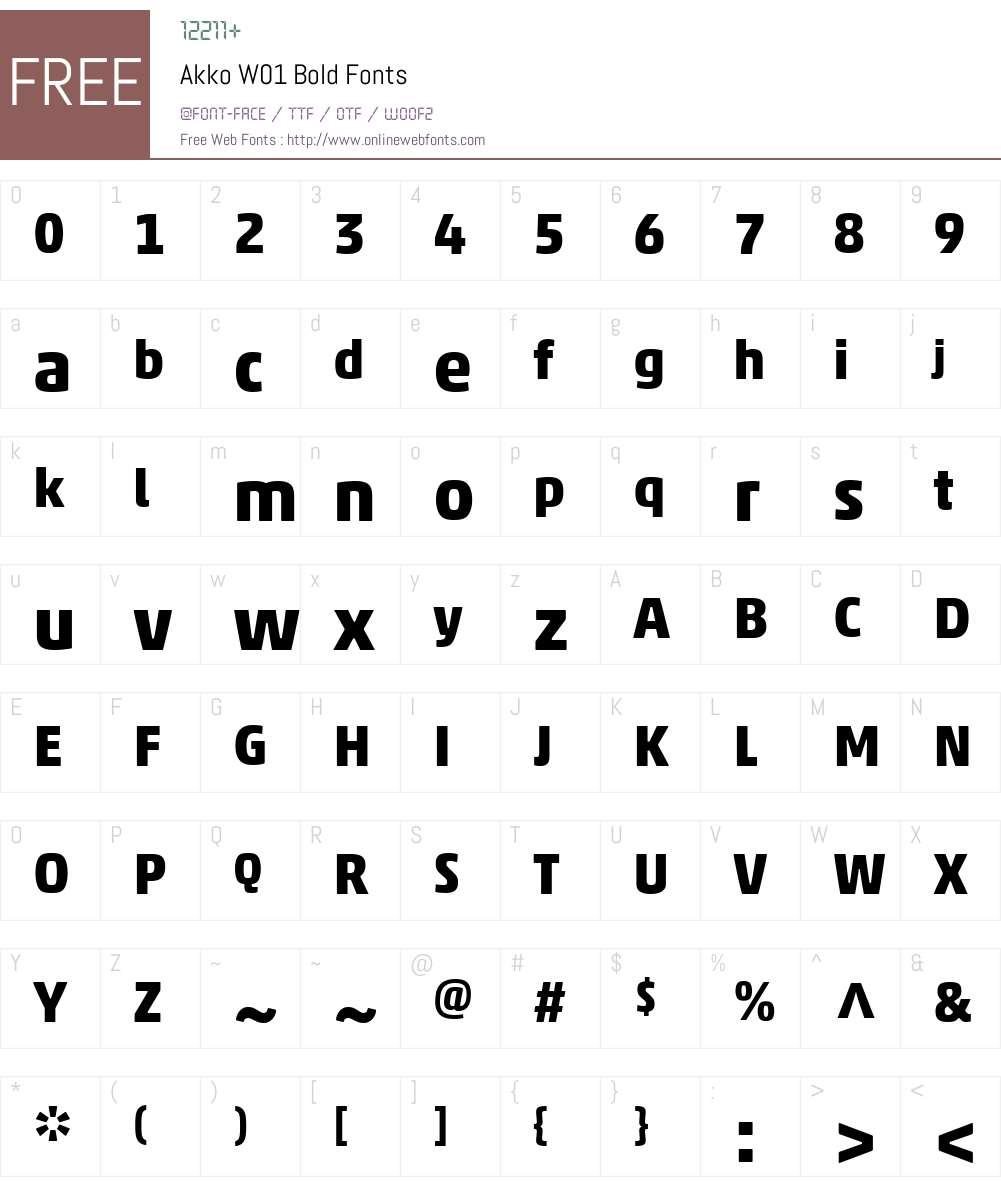 AkkoW01-Bold Font Screenshots