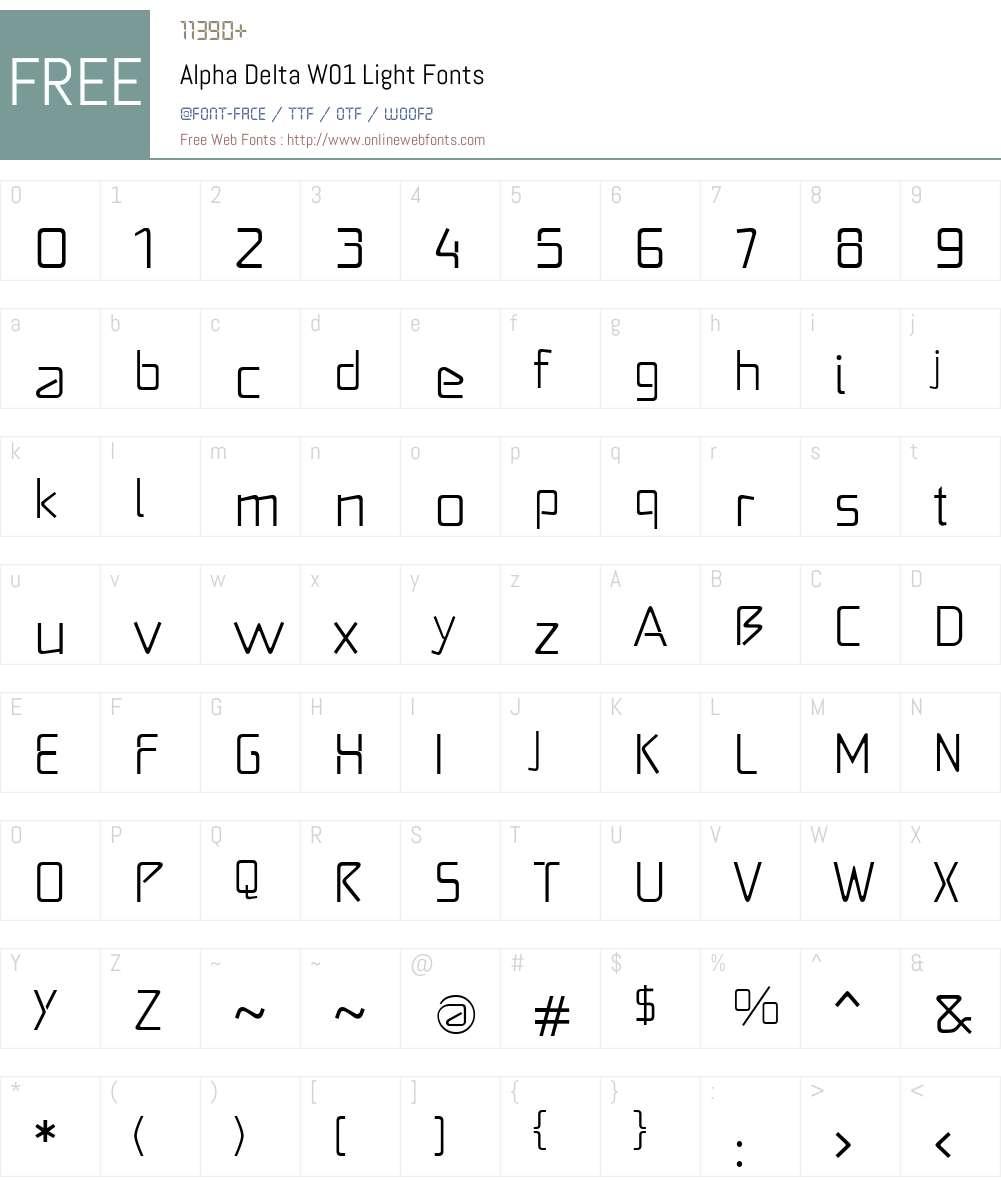AlphaDeltaW01-Light Font Screenshots