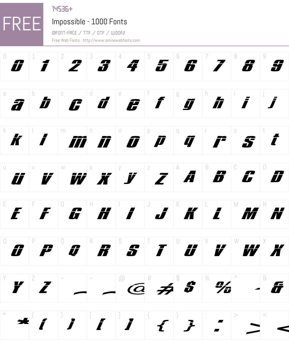 Impossible - 1000 Font Screenshots