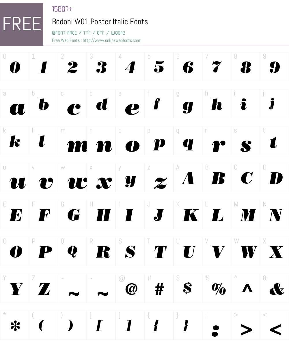 BodoniW01-PosterItalic Font Screenshots