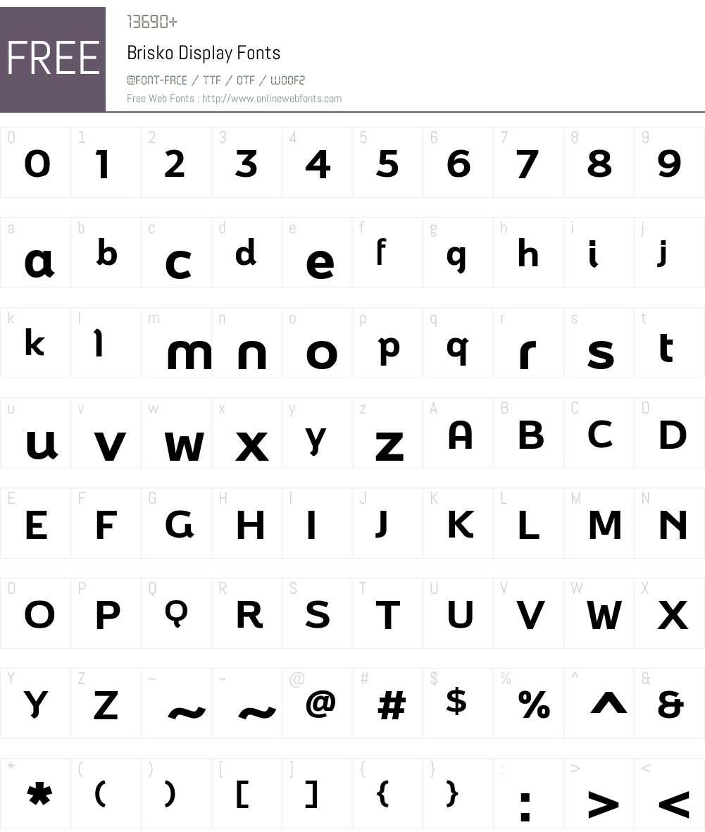 Brisko Display Font Screenshots