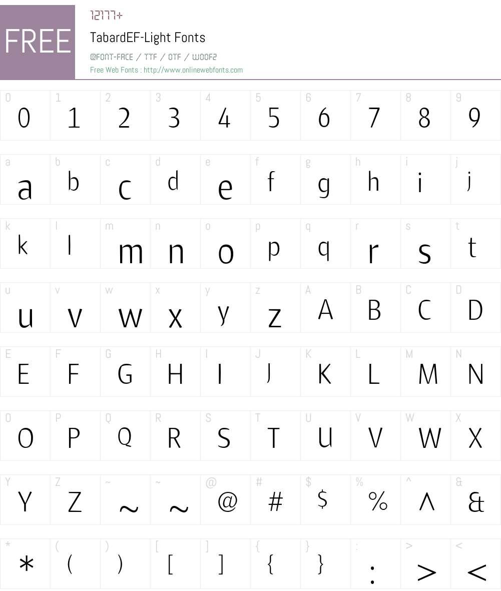 TabardEF Font Screenshots