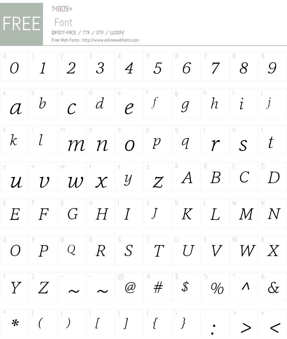 CassiaW01-ExtraLightItalic Font Screenshots