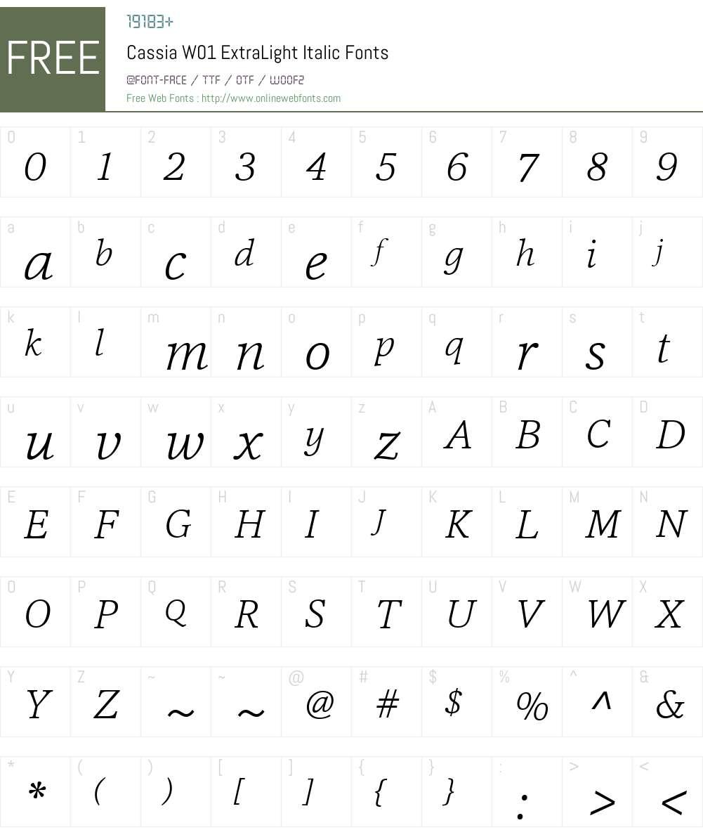 CassiaW01-ExtraLightItalic Font Screenshots