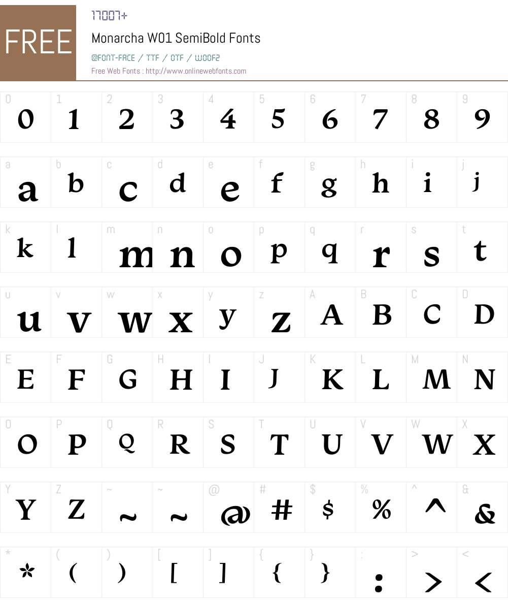 MonarchaW01-SemiBold Font Screenshots
